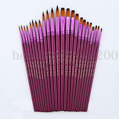 12 Artist Art Paint Pointed Brush Set Watercolor Acrylic Oil Drawing Pen