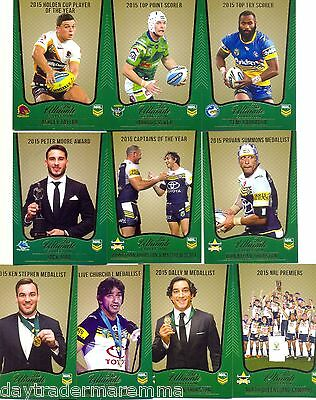 2015 NRL The Ultimate Collection set of 10 limited edition cards in plastic case