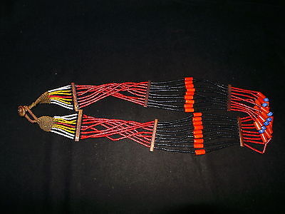 Old Nepal Tibet Tribal Large Color Glass Bead Strand Necklace II