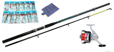 Boat sea fishing beginners starter set up with rod,reel,traces,rig wallet