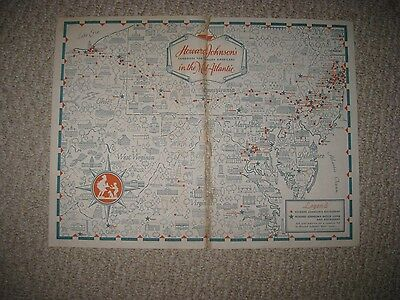 Antique 1959 Howard Johnsons New Jersey Maryland Virginia Pictorial Cartoon Map
