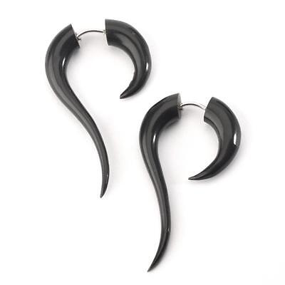 81stgeneration Black Horn Fake Taper Stretcher Curved Spiral Tribal Earrings