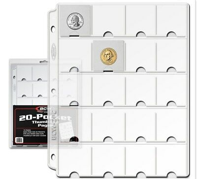 Pack / 10 BCW Vinyl 20-Pocket Coin Album Pages w/ Thumb Cut -binder sheet holder