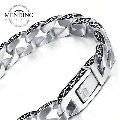 """MENDINO Men's Stainless Steel Bracelet Carved Cuban Curb Link Chain Silver 8.5"""""""