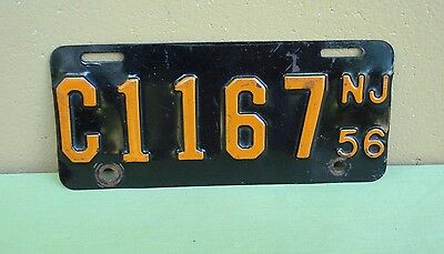 1956 NEW JERSEY Motorcycle License Plate Tag # C1167 Panhead Flathead Indian BSA