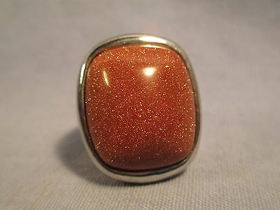 Large  Goldstone Dome Ring - Unisex - size 7.5 /      MH 90