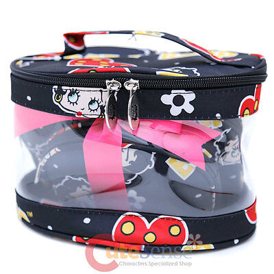 Betty Boop Makeup Cosmetic Bag 3pc Pouch Set Black Hearts