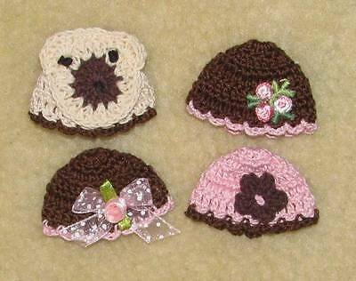 """Thread Crochet Hats fits Tiny 4"""" OOAK Polymer Clay Bisque Babies #158"""