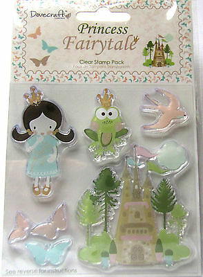 Lot 5 Tampons Transparents Clear Princesse Chateau Diy Papillons Scrapbooking