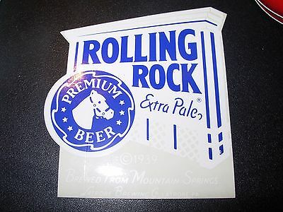 "ROLLING ROCK Blue Sign Logo 3.5"" STICKER decal craft beer brewing brewery"
