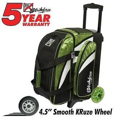 KR Strikeforce Cruiser Smooth Lime Green/White/Black 2 Ball Roller Bowling Bag
