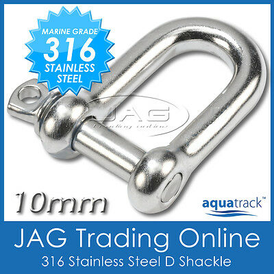 10mm 316 STAINLESS STEEL STANDARD D-SHACKLE M10 - Marine/Boat/Sailing/Shade/Sail