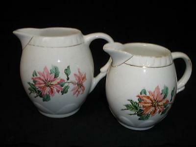 Retro Vintage Porcelain Jugs X 2 Poisettia B Made In England