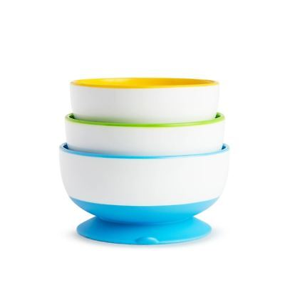 Munchkin 3 Pack Stay Put Child Suction Bowls - 3 assorted colours - Baby Weaning