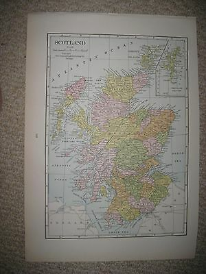 Superb Antique 1930 Scotland Map Shetland Islands Railroad Very Detailed Nr