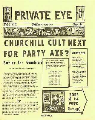 PRIVATE EYE MAGAZINE Vol.1 No.1: FACSIMILE OF VERY FIRST ISSUE - 25th OCT 1961