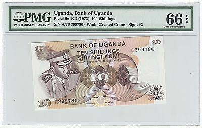1973 Uganda 10 Ten Shillings Bank Note Bill Pick# 6c - PMG GEM UNC 66 EPQ