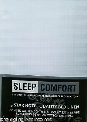 Egyptian Cotton Hotel White Stripes Fitted Sheet In Single Double King Superking