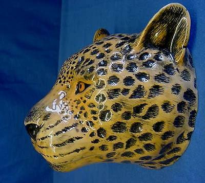 Quail Ceramic Leopard Head Wall Pocket Or Vase - Wildlife Animal Figure Or Model