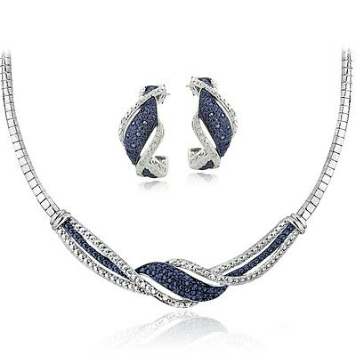 0.50ct TDW Blue & White Diamond Twist Omega Necklace and Earrings Set in Brass