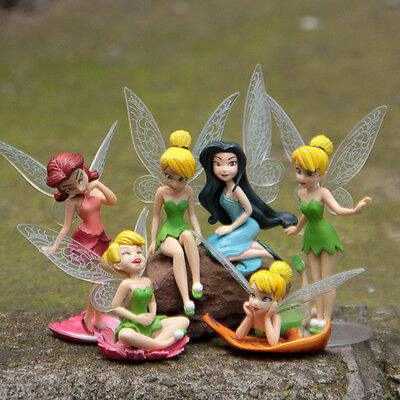 "Tinkerbell Figures 6pc Fairy 3"" Girls Dolls Set Silvermist Rosetta Tinker Bell"