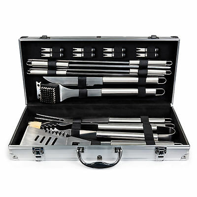 BCP 19pc Stainless Steel BBQ Grill Tool Set With Aluminum Storage Case