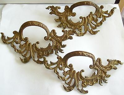 3 Large Antique Ornate Victorian Brass Architectural Drawer Pulls Hardware