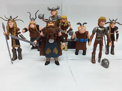 Set of 8 pcs How to Train Your Dragon: Hiccup Astrid Stoick Action Figures Toys