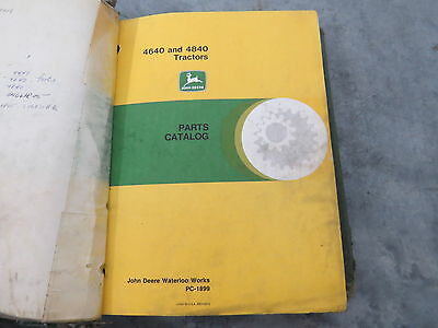 original John Deere 4640 4840 Tractor Parts Catalog in Binder Green PC-1899
