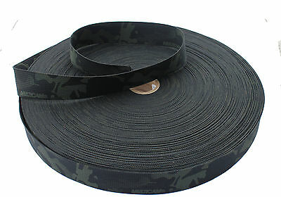 """Double Sided Crye Multicam Black Camouflage Military Spec 38mm / 1.5"""" Webbing"""