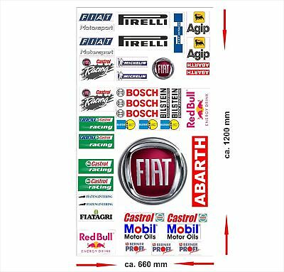 Fiat Logo Autoaufkleber Sponsoren Marken Aufkleber Decals Tuning Sticker Set