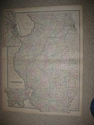 Huge Gorgeous Antique 1894 Illinois Cook County Chicago Handcolored Railroad Map