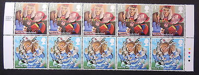 Gb Sg3666/7 Alice In Wonderland Setenant Strip Of 10 Stamps With T/Lights Mnh