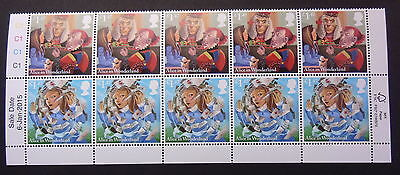 Gb Sg3666/7 Alice In Wonderland Setenant Strip Of 10 Stamps With Cylinder Mnh