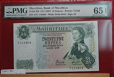 1967 Mauritius 25 Rupees P-32b Graded 65 Gem Unc EPQ by PMG Free S/H