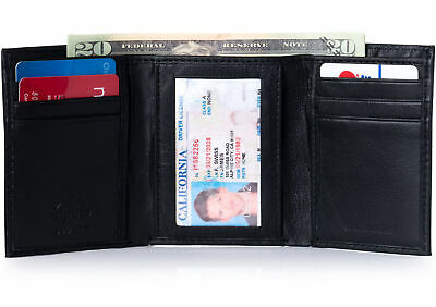 Alpine Swiss RFID Blocking Mens Trifold Wallet Leather ID Bill Holder Card Case