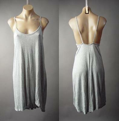 Heather Gray Basic Strappy Open Back Asymmetrical Casual Slip 176 mv Dress M L