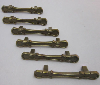 6 Vtg 1970 National Metal Drawer Pulls Cabinet Cupboard Handles Brass 63-3554
