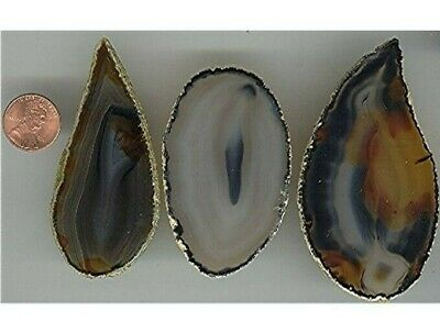 """3 Pieces Vintage Genuine Agate Slices / Plaques - Large Approx. 3"""" To 3.5""""  V153"""