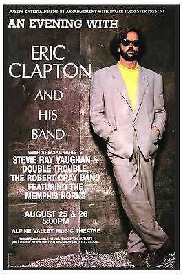 Classic Rock: Eric Clapton & Stevie Ray Vaughan Concert Poster 1990