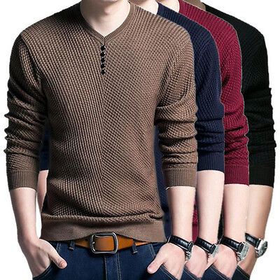 BD Pullover Men V Neck Sweater Long Sleeve Shirt Sweaters Wool Casual Knitwear