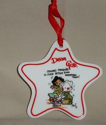 """Dear God Ornament """"opening Presents Is Better..."""" Star Christmas Home Decor"""