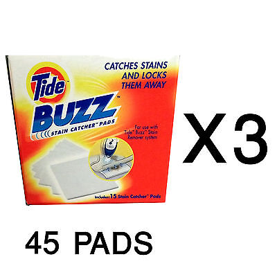 3 Tide BUZZ Refill Pack 15 Absorbant Stain Catcher Pads Laundry Pretreat