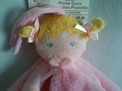 Blankets & Beyond Plush Blonde Doll Security Blanket Pacifier Holder