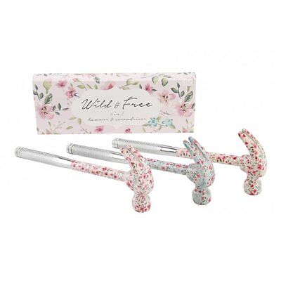 Lady's 6 In 1 Hammer & screwdriver Kit Retro Flower Floral Vintage Girly DIY