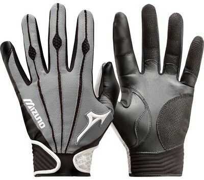1 Pair Mizuno 330290 Vintage Pro Large Grey Youth Batting Gloves New In Wrapper!