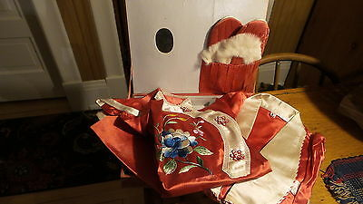 Antique, Boxed JAPANESE SILK EMBROIDERED 3-PC CHILD'S PAJAMA OUTFIT W/ SLIPPERS