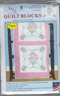 "1 Pk Jack Dempsey ""Star Flower Bouquet"" Stamped Embroidery Quilt Blocks"