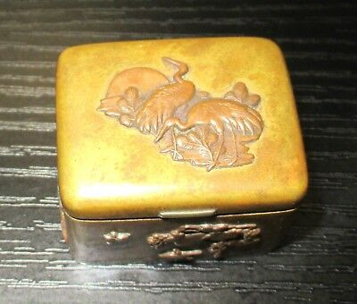 Old Bronze Japanese Mixed Metal Copper Trinket Snuff Jar Box