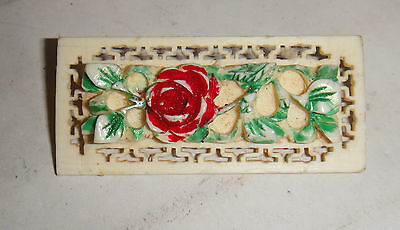 Vintage Antique Carved Cow Bovine Bone Rose Painted Flower Chinese Brooch